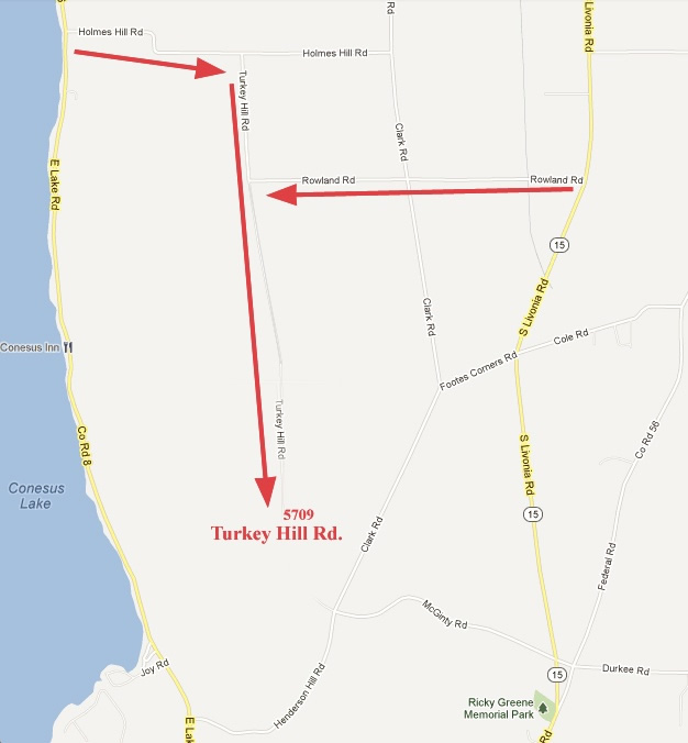 Map showing 5709 Turkey Hill Road, Conesus, NY